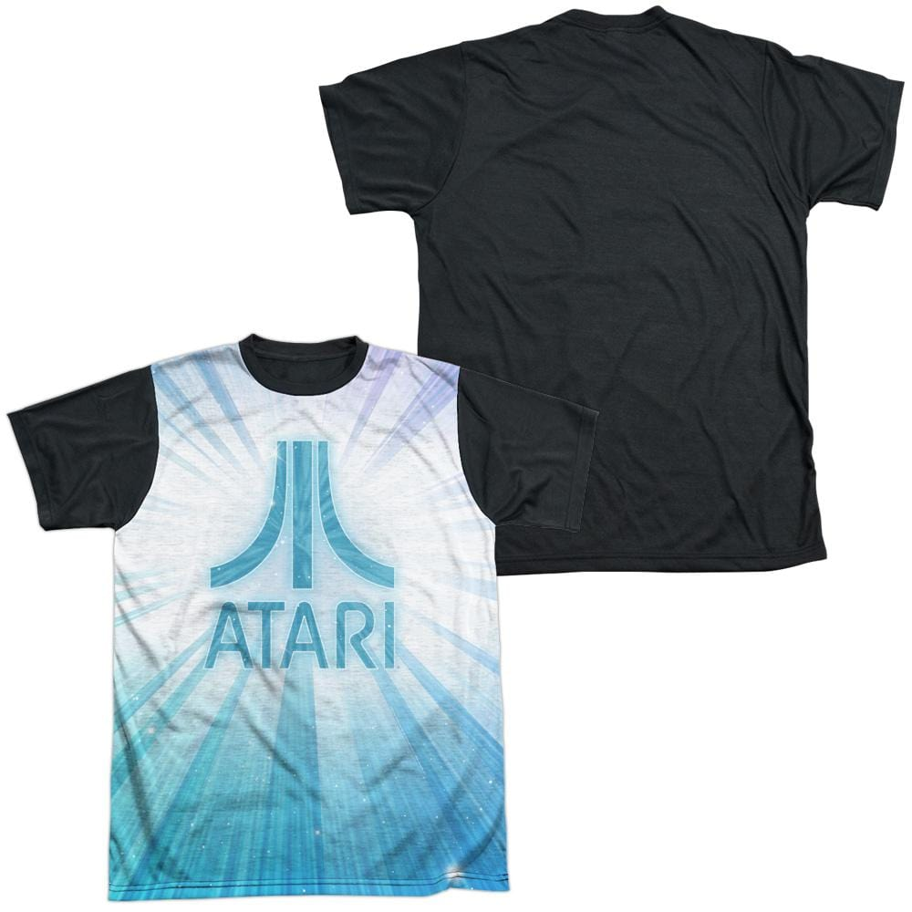 Atari - Burst Logo Adult Black Back 100% Poly T-Shirt