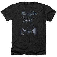 Batman Arkham Origins - Perched Cat Adult Regular Fit Heather T-Shirt
