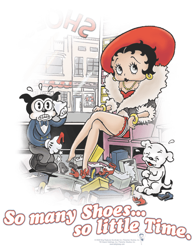 Betty Boop So Many Shoes Youth T-Shirt (Ages 8-12)