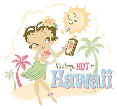 Betty Boop Hot In Hawaii Juniors T-Shirt