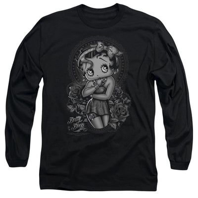 Betty Boop Fashion Roses Men's Long Sleeve T-Shirt