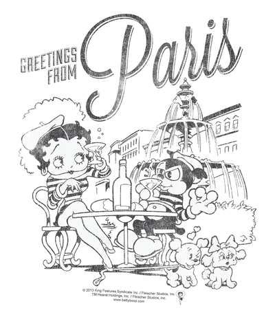 Betty Boop Greetings From Paris Men's Heather T-Shirt