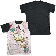 Betty Boop - Cake Boop Adult Black Back 100% Poly T-Shirt