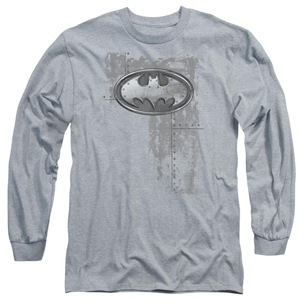 Batman - Rivited Metal Logo Adult Long Sleeve T-Shirt