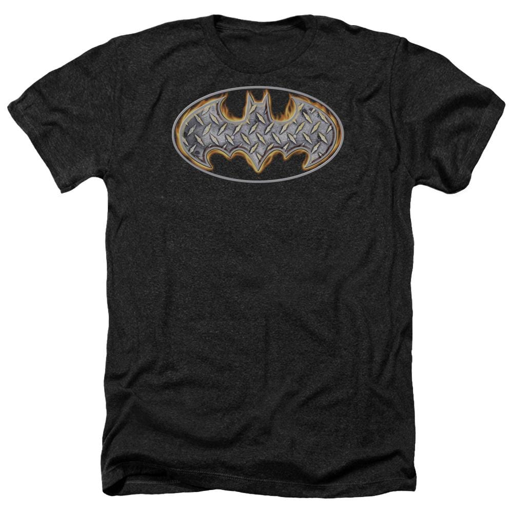 Batman - Steel Fire Shield Adult Regular Fit Heather T-Shirt