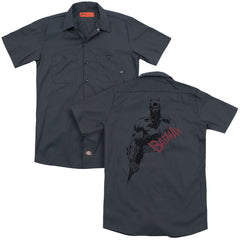 Batman - Sketch Bat Red Logo Adult Work Shirt