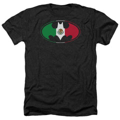 Batman - Mexican Flag Shield Adult Regular Fit Heather T-Shirt