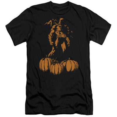 Batman A Bat Among Pumpkins Men's Premium Slim Fit T-Shirt