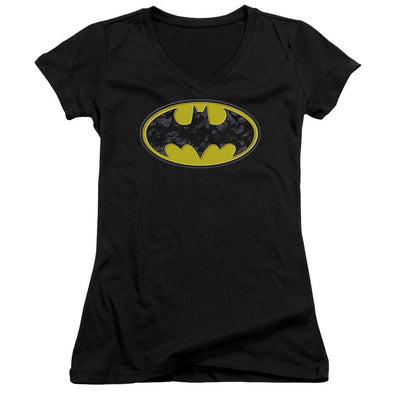 Batman Bats In Logo Juniors V-Neck T-Shirt