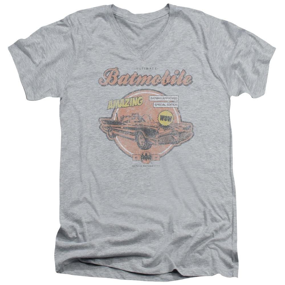Batman - Amazing Batmobile Adult V-Neck T-Shirt