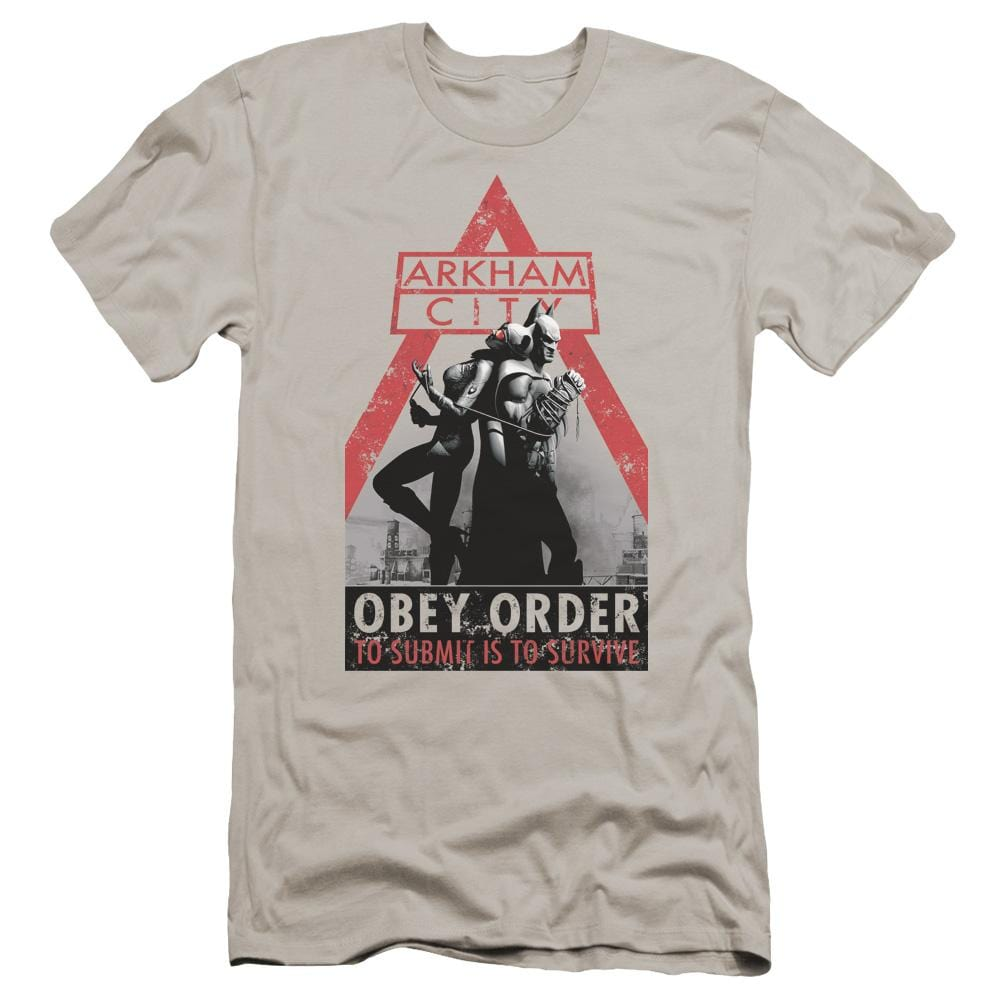 Arkham City Obey Order Premium Adult Slim Fit T-Shirt