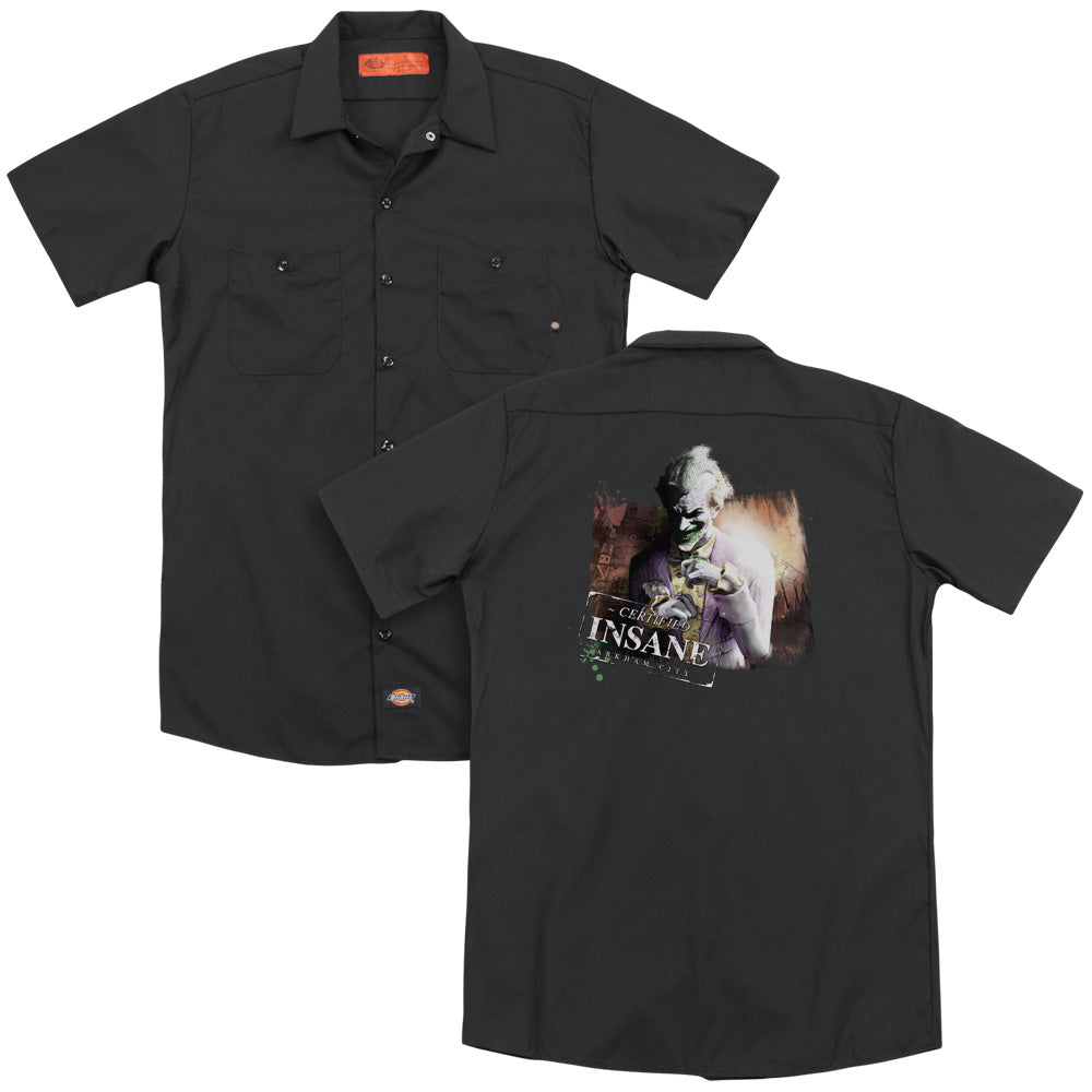Arkham City - Certified Insane Adult Work Shirt