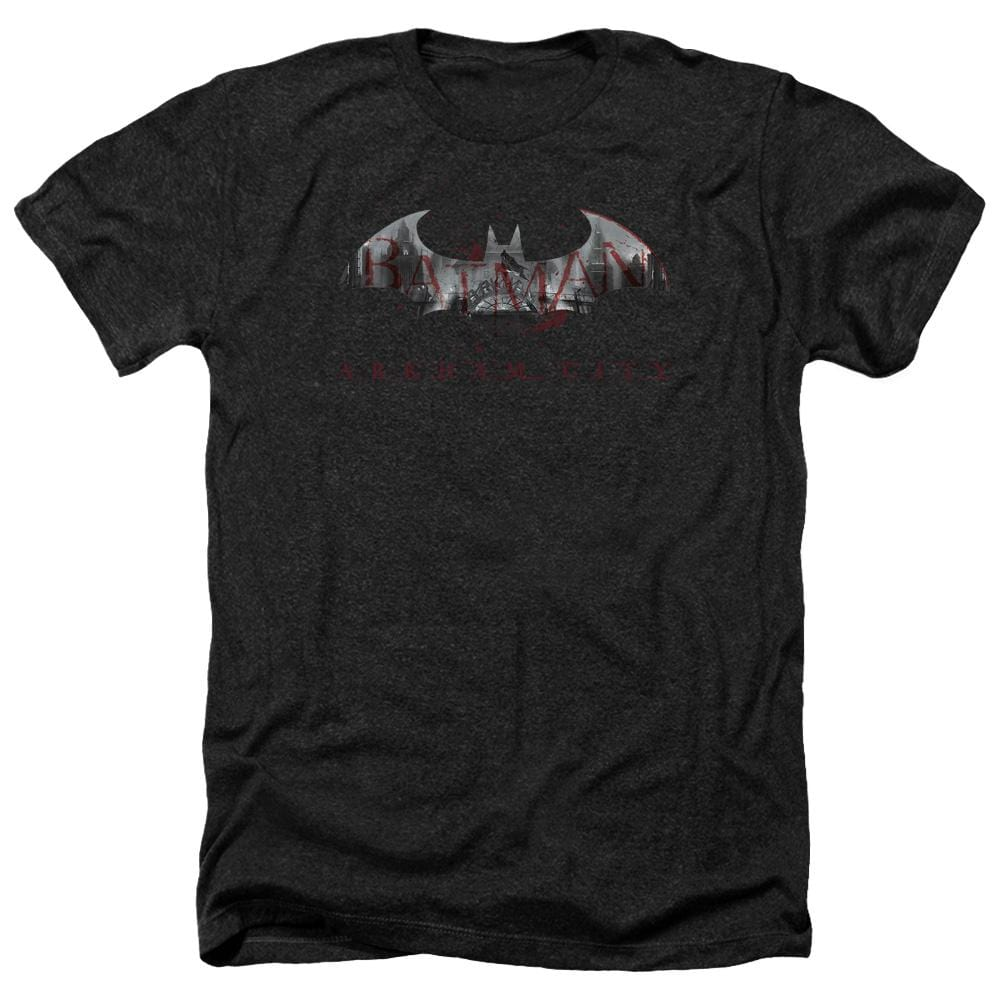 Arkham City - Bat Fill Adult Regular Fit Heather T-Shirt