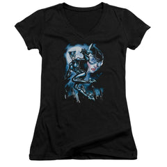 Batman Moonlight Cat Juniors V-Neck T-Shirt