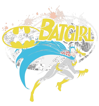 Batman Batgirl Halftone Juniors V-Neck T-Shirt