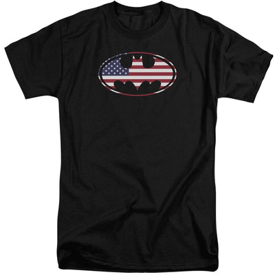 Batman American Flag Oval Men's Tall Fit T-Shirt