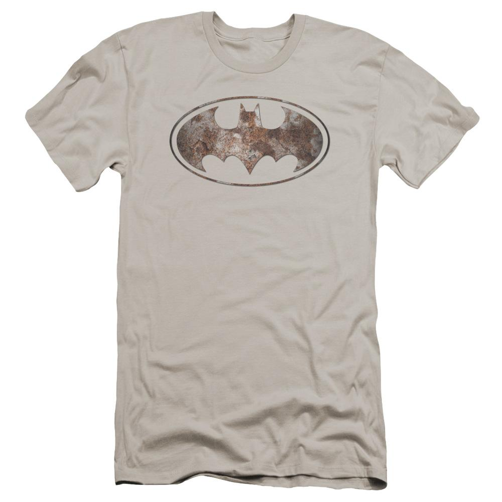 Batman Heavy Rust Logo Premium Adult Slim Fit T-Shirt