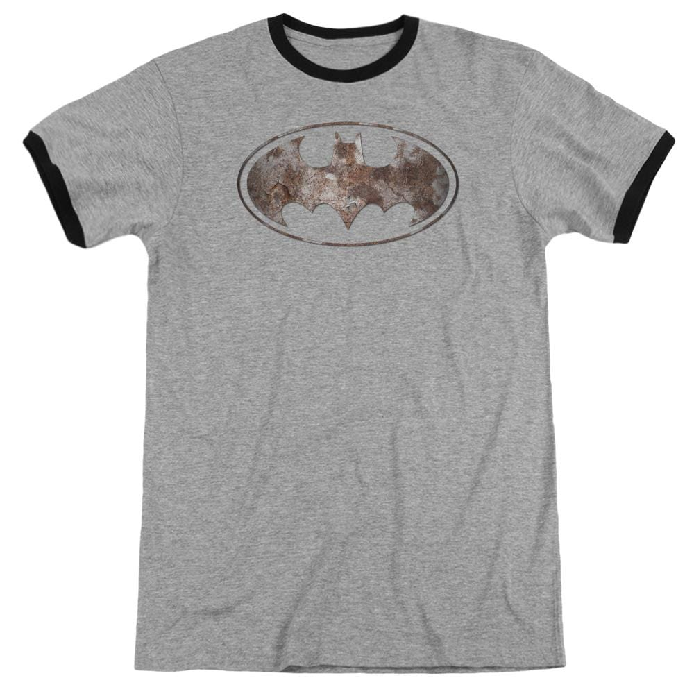 Batman - Heavy Rust Logo Adult Ringer T- Shirt