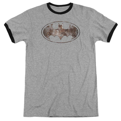 Batman Heavy Rust Logo Men's Ringer T-Shirt