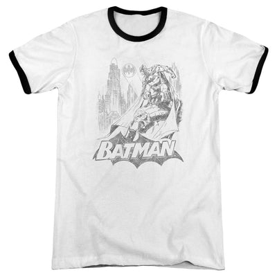 Batman Bat Sketch Men's Ringer T-Shirt