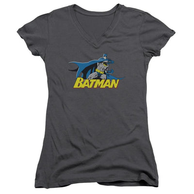 Batman 8 Bit Cape Juniors V-Neck T-Shirt