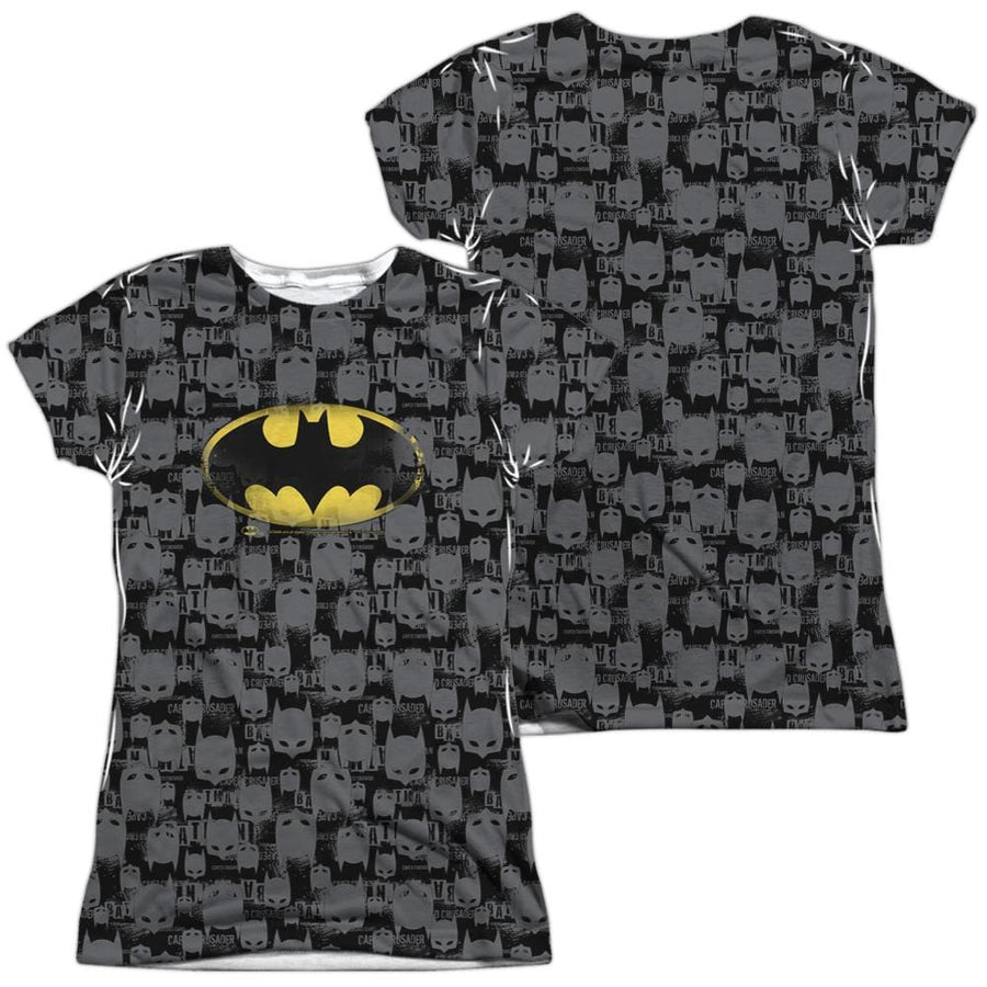Batman Caped Crusader Repeat Juniors All Over Print T-Shirt