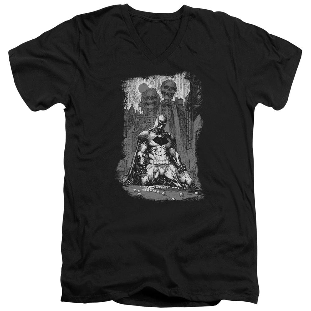 Batman - Sketchy Shadows Adult V-Neck T-Shirt