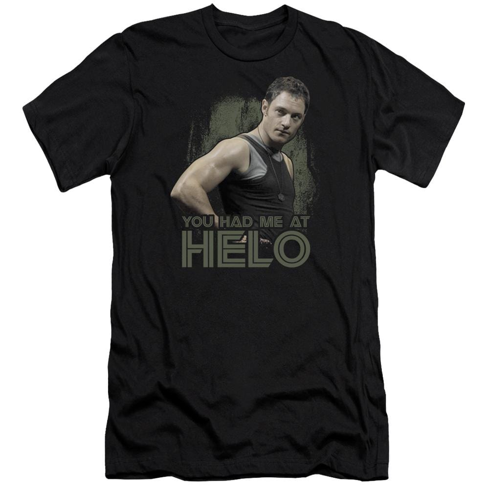 Bsg Had Me At Helo Premium Adult Slim Fit T-Shirt