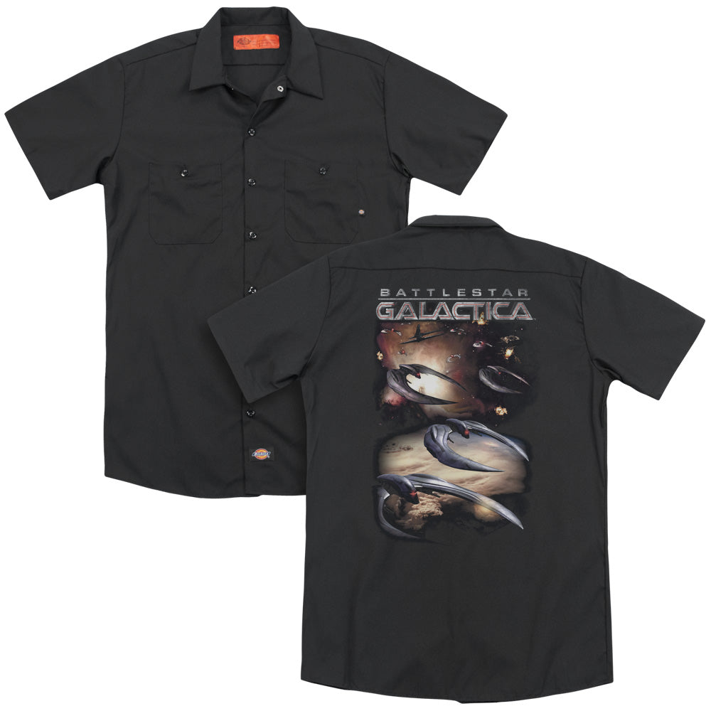 Battlestar Galactica (new) - When Cylons Attack Adult Work Shirt