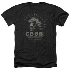 Cbgb Electric Skull Adult Regular Fit Heather T-Shirt