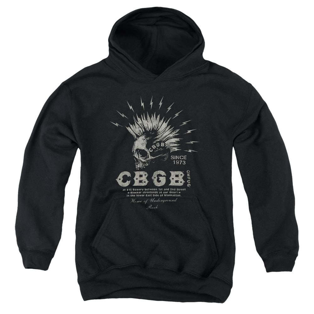 Cbgb Electric Skull Youth Pull-Over Hoodie