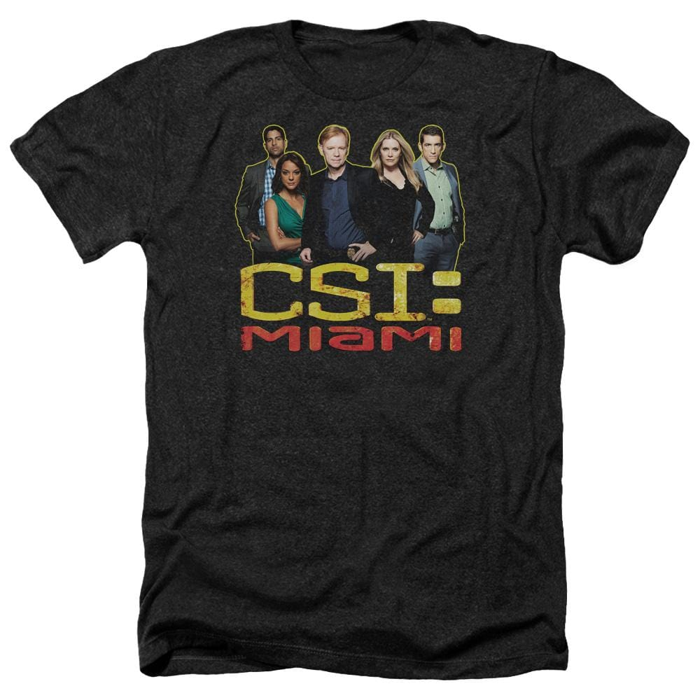 Csi Miami The Cast In Black Adult Regular Fit Heather T-Shirt