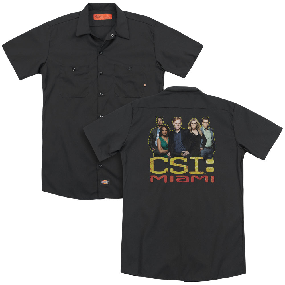 Csi Miami The Cast In Black Adult Work Shirt