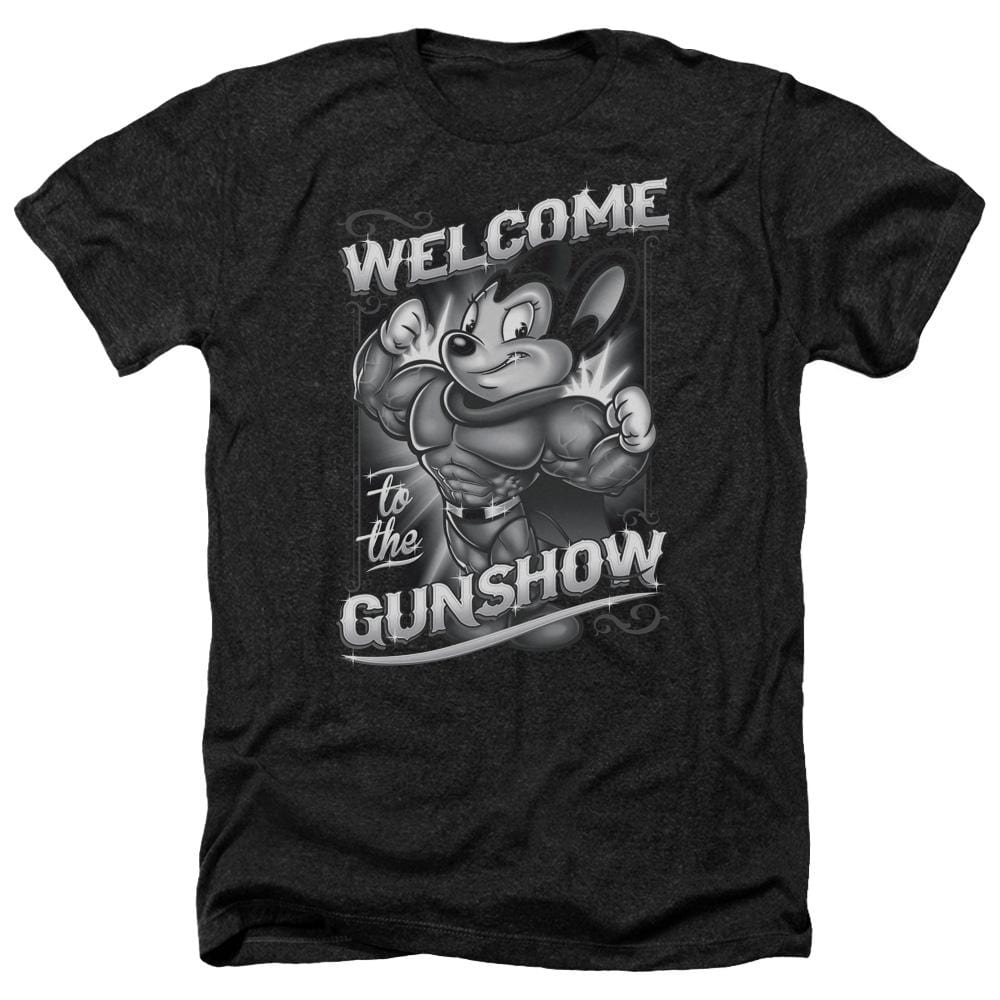 Mighty Mouse Mighty Gunshow Adult Regular Fit Heather T-Shirt