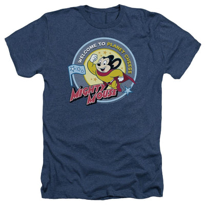 Mighty Mouse Planet Cheese Men's Heather T-Shirt
