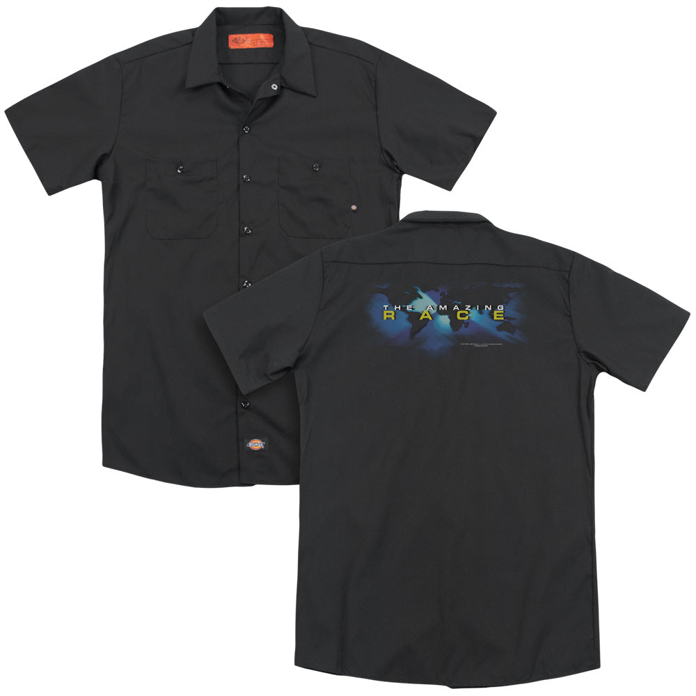 Amazing Race Faded Globe Adult Work Shirt