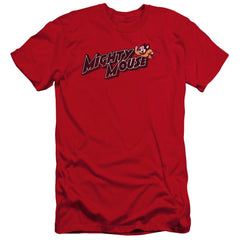 Mighty Mouse Might Logo Premium Adult Slim Fit T-Shirt