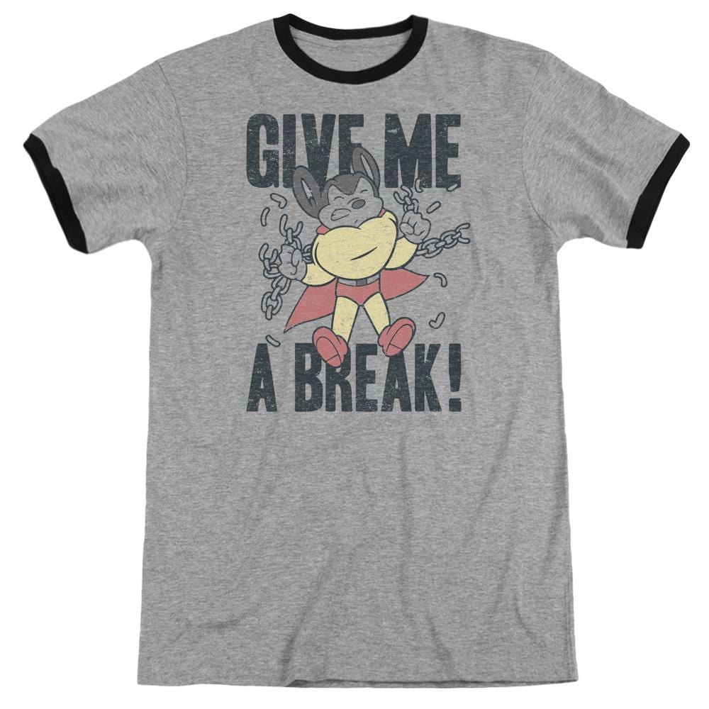 Mighty Mouse - Give Me A Break Adult Ringer T- Shirt