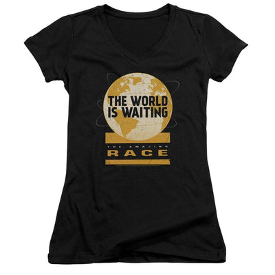 The Amazing Race Waiting World Juniors V-Neck T-Shirt