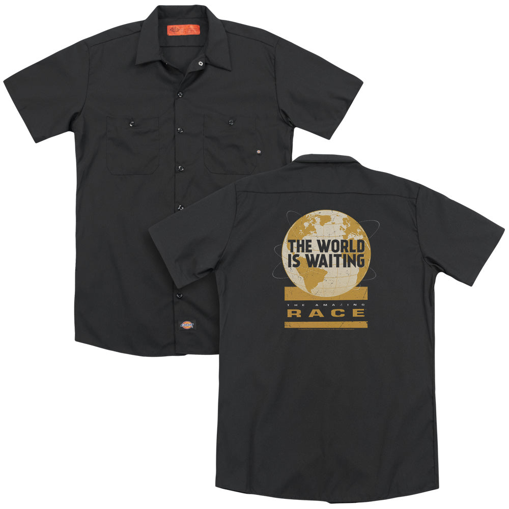 Amazing Race Waiting World Adult Work Shirt
