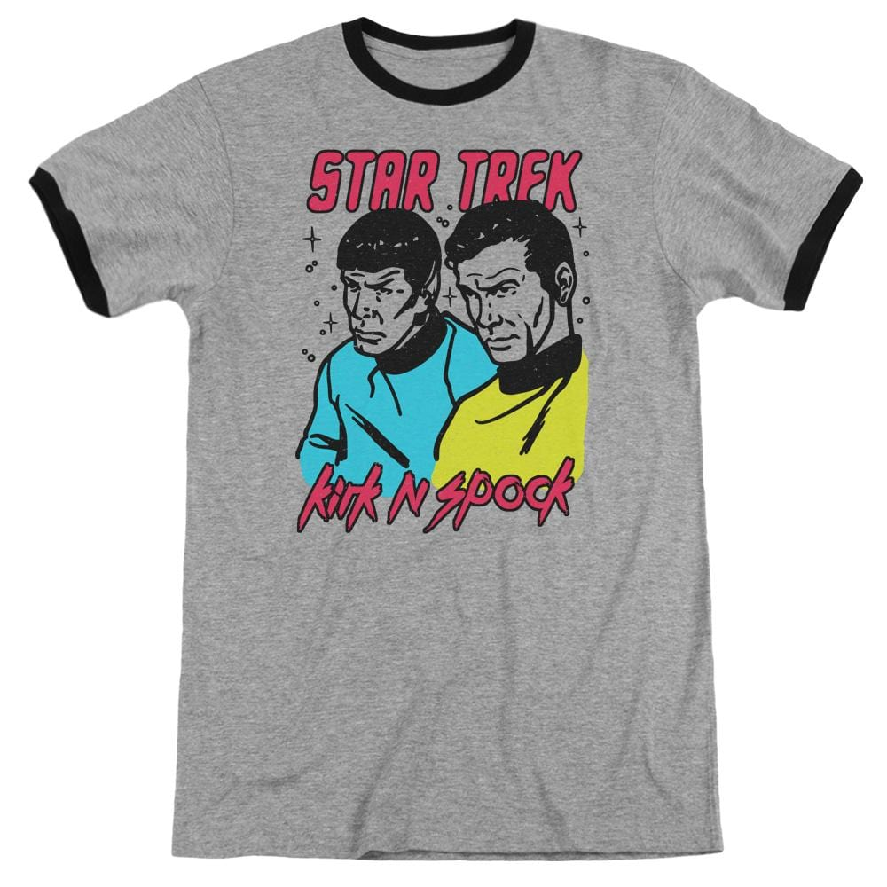 Star Trek - Kirk N Spock Adult Ringer T- Shirt