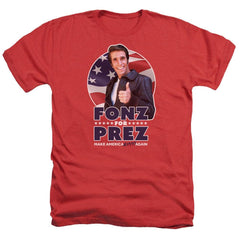 Happy Days - Fonz For Prez Adult Regular Fit Heather T-Shirt