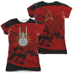 Star Trek Uss Enterprise Schematic Junior All Over Print 100% Poly T-Shirt
