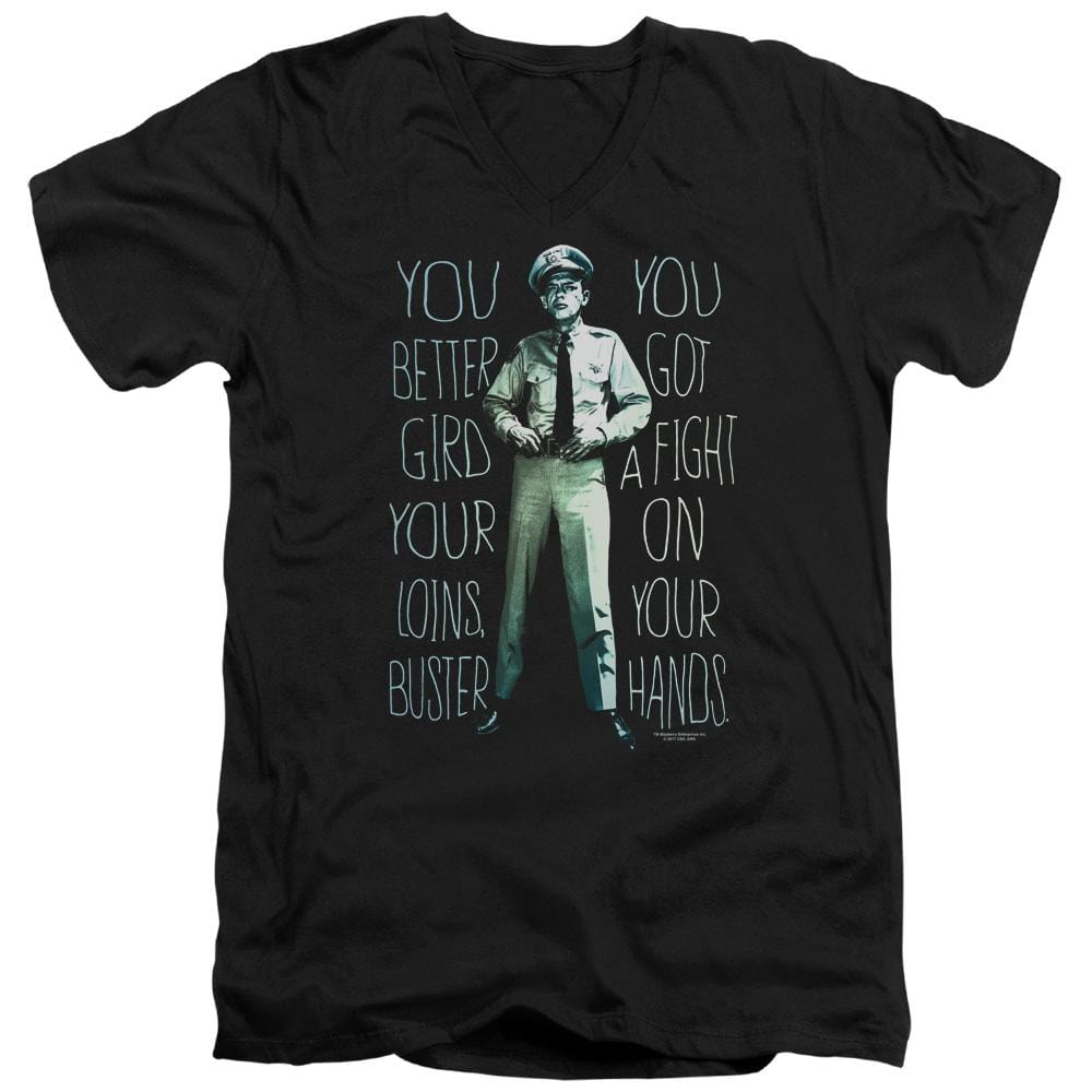 Andy Griffith Show Fight Adult V-Neck T-Shirt