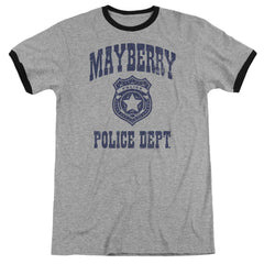 Andy Griffith Show Mayberry Police Adult Ringer T- Shirt
