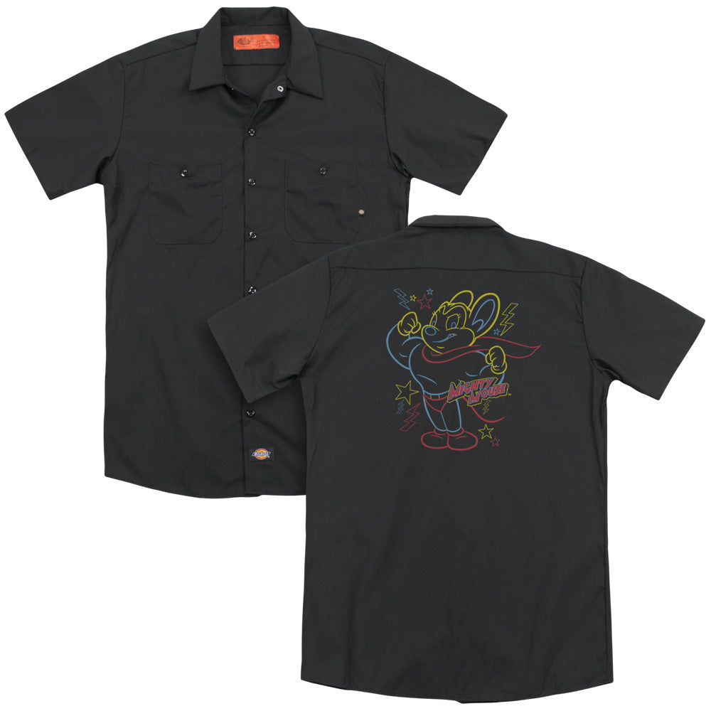 Mighty Mouse Neon Hero Adult Work Shirt