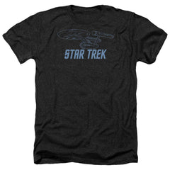Star Trek Enterprise Outline Adult Regular Fit Heather T-Shirt