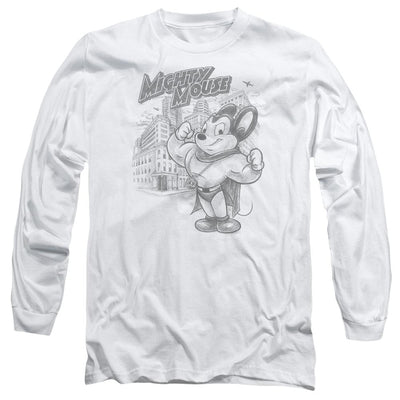 Mighty Mouse Protect And Serve Men's Long Sleeve T-Shirt