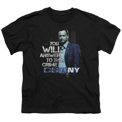 CSI: NY You Will Answer Youth T-Shirt (Ages 8-12)