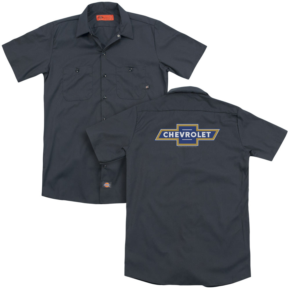 Chevrolet Blue And Gold Vintage Bowtie Adult Work Shirt